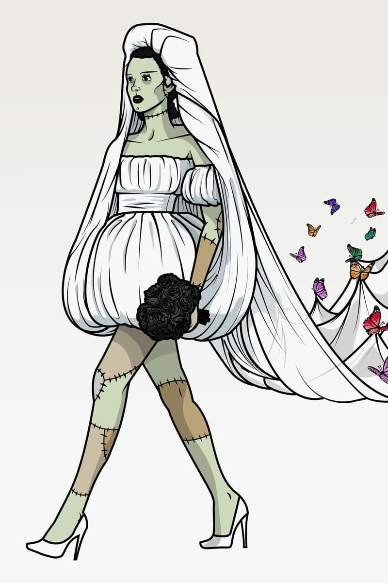 Halloween Character Frankenstein's Bride Moschino Spring Summer 2019 Dress White