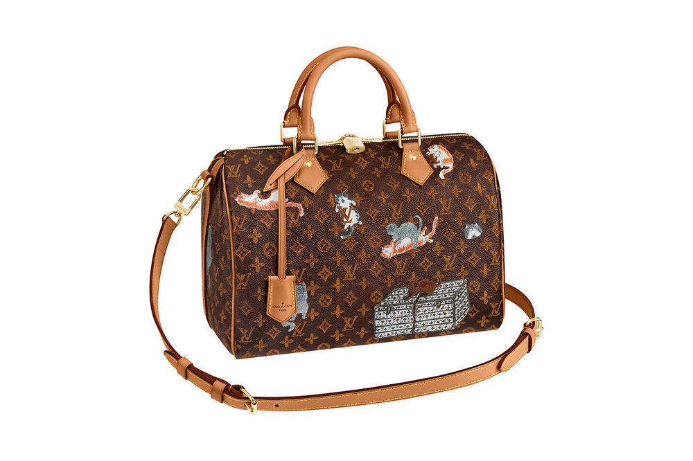 c54f60411c8e8 Louis Vuitton Grace Coddington Cruise 2019 Collaboration Cats Monogram Bag  Speedy Handbag
