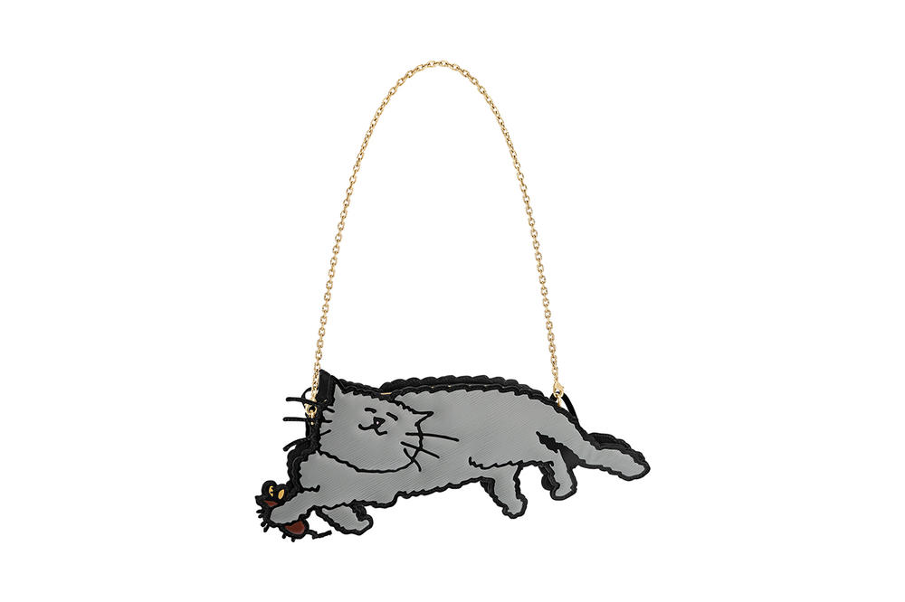 Louis Vuitton Grace Coddington Cruise 2019 Collaboration Cat Grey Bag Chain