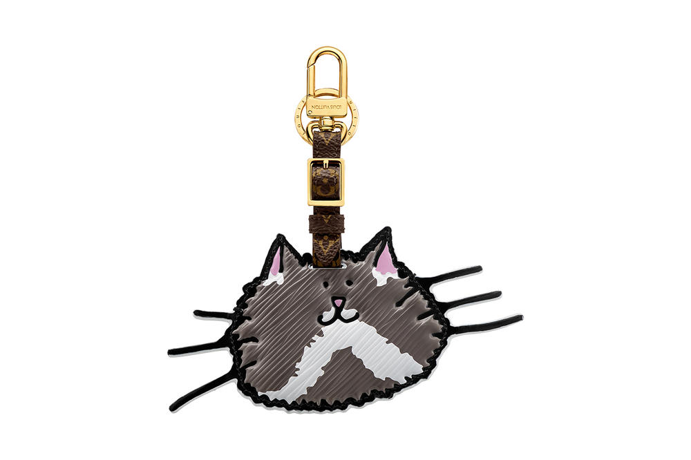Louis Vuitton Grace Coddington Cruise 2019 Collaboration Cat Grey Keychain