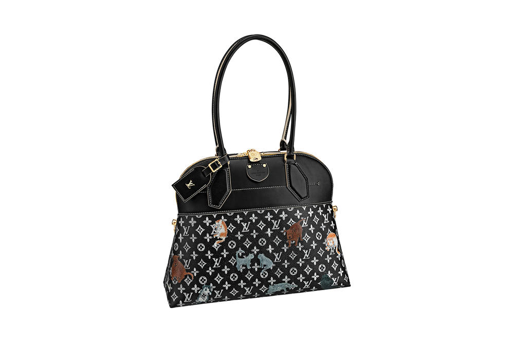 Louis Vuitton Grace Coddington Cruise 2019 Collaboration Cats Monogram Black Bag