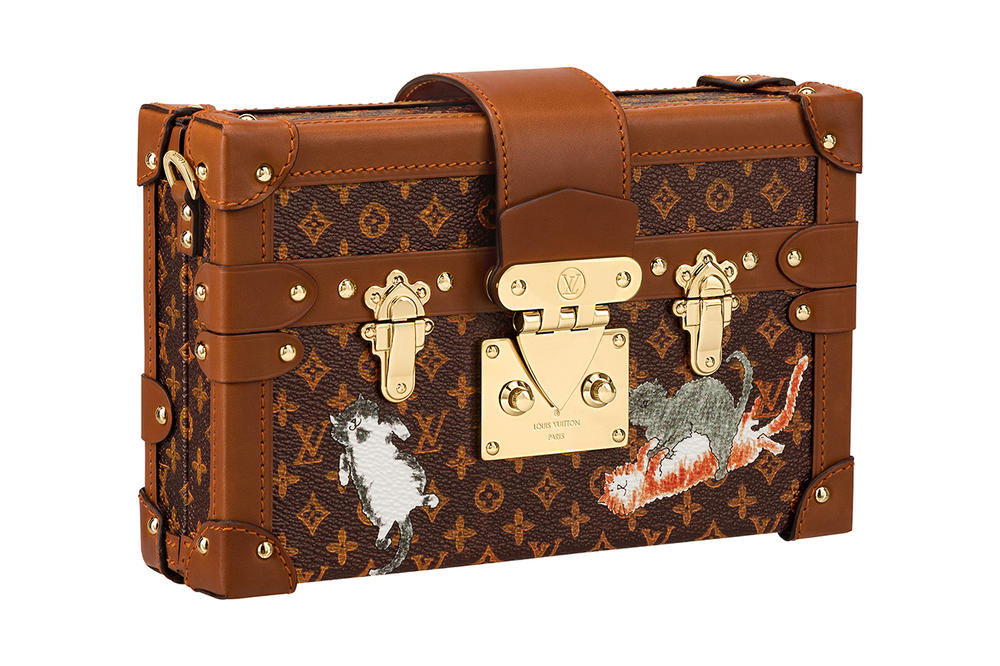 Louis Vuitton Grace Coddington Cruise 2019 Collaboration Cats Monogram Clutch