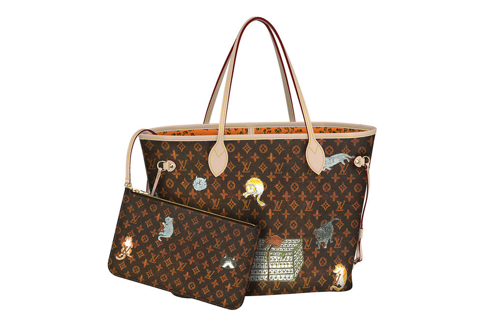Louis Vuitton Grace Coddington Cruise 2019 Collaboration Cats Monogram Tote Bag