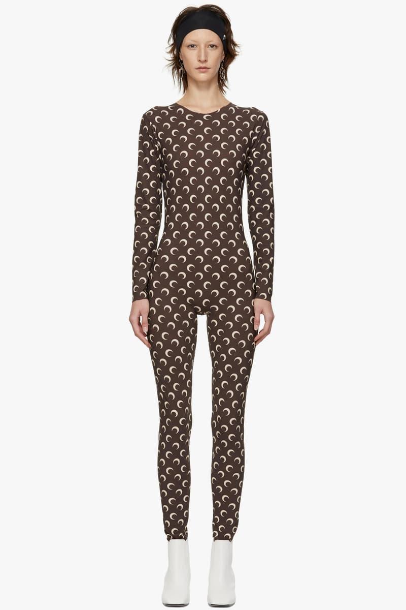 Marine Serre Moon Print Bodysuit Catsuit Pattern LVMH Prize Winner Streetwear Fashion Logo Brown Beige Tan