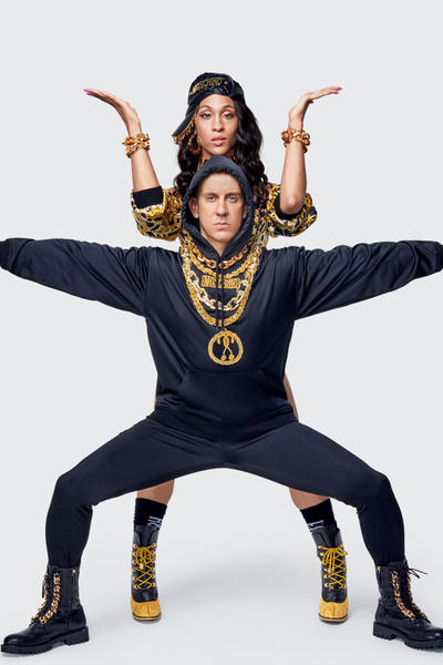 Moschino H&M Collection Lookbook Jeremy Scott MJ Rodriguez Hoodie Pants Black