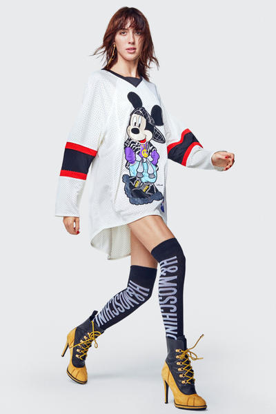 Moschino H&M Collection Lookbook Jersey White Boots Tan