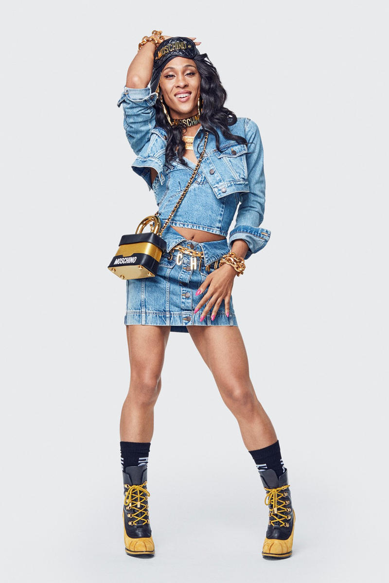 Moschino H&M Collection Lookbook MJ Rodriguez Jacket Skirt Blue