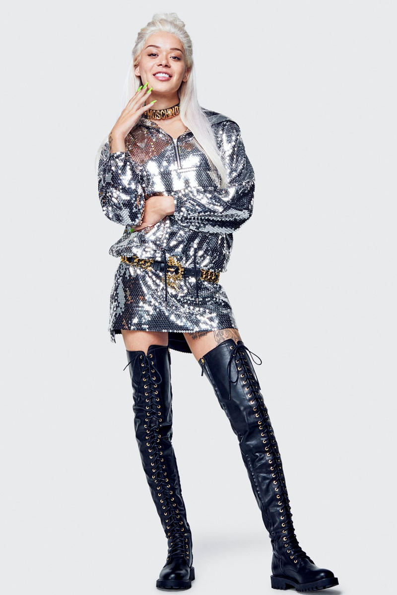 Moschino H&M Collection Lookbook Sequin Hoodie Silver Boots Black