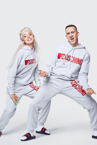 Moschino H&M Collection Lookbook Jeremy Scott Hoodie Sweatpants Grey Red