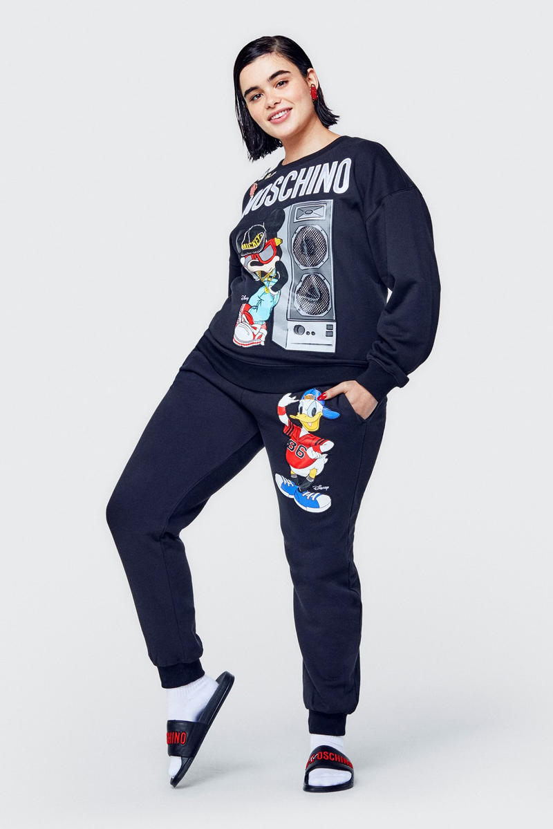 Moschino H&M Collection Lookbook Barbie Ferreira Sweatpants Sweater Black