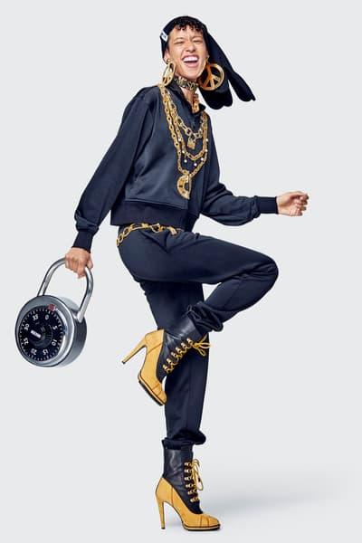 Moschino H&M Collection Lookbook Janice Dilon Jacket Pants Black Locker Bag Silver