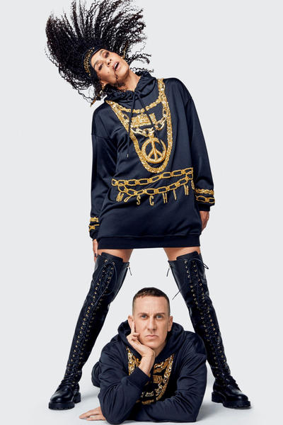 Moschino H&M Collection Lookbook Jeremy Scott Hoodie Black Gold