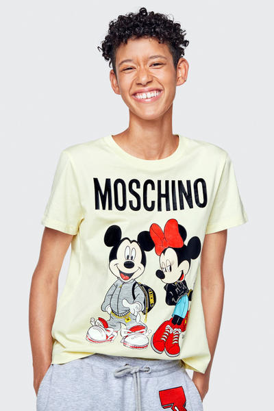 Moschino H&M Collection Lookbook Janice Dilon Minnie Mickey Mouse Shirt Yellow
