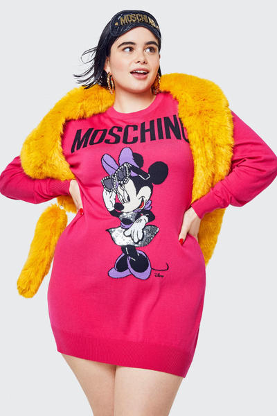 Moschino H&M Collection Lookbook Barbie Ferreira Minnie Mouse Sweater Pink