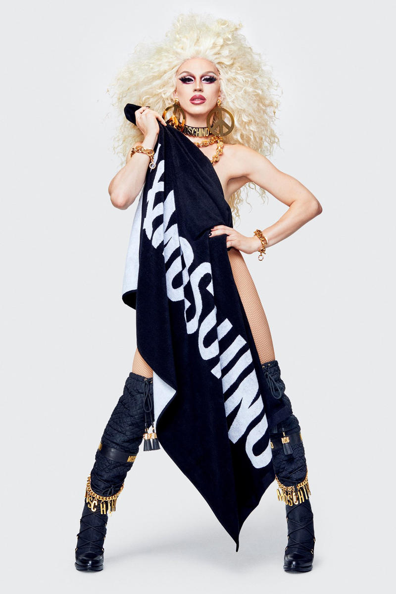 Moschino H&M Collection Lookbook Aquaria Towel Black White
