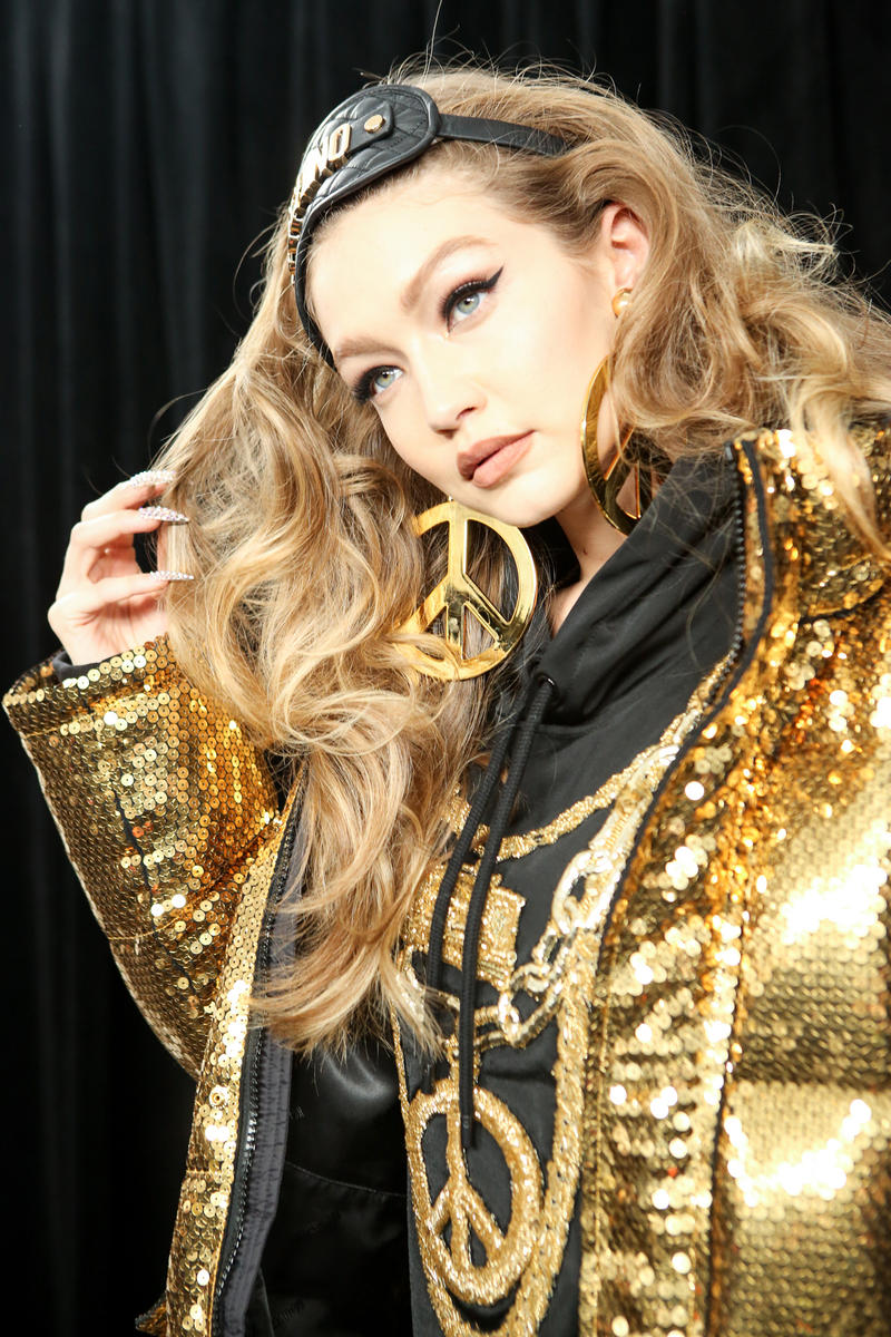 Moschino x H&M Collection Backstage Look Gigi Hadid Coat Chains Gold