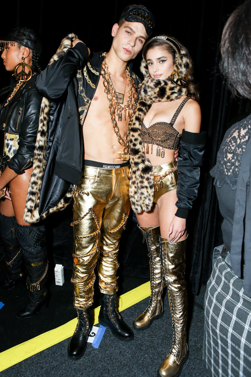 Moschino x H&M Collection Backstage Look Top Pants Gold