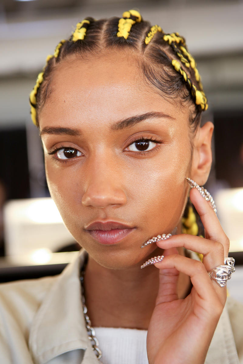 Moschino x H&M Collection Backstage Look Braids Yellow Black