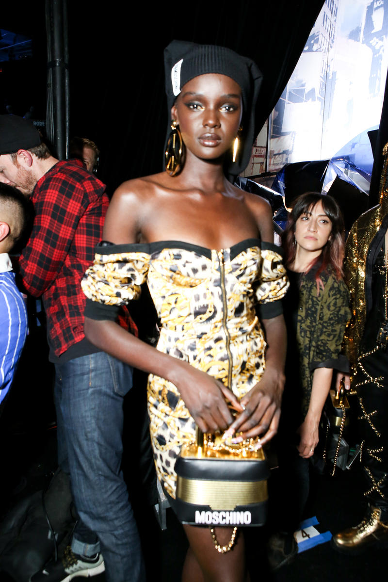 Moschino x H&M Collection Backstage Look Duckie Thot Dress Gold Black