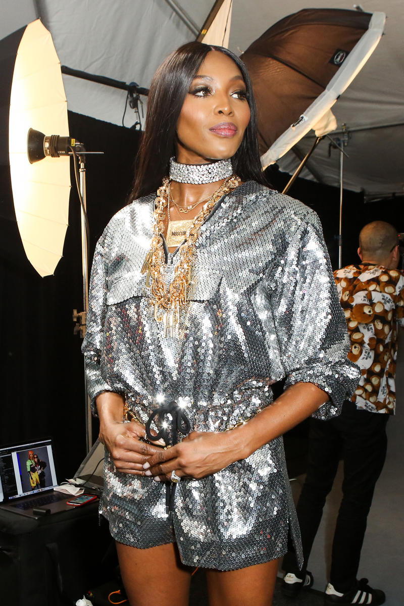 Moschino x H&M Collection Backstage Look Naomi Campbell Dress Silver
