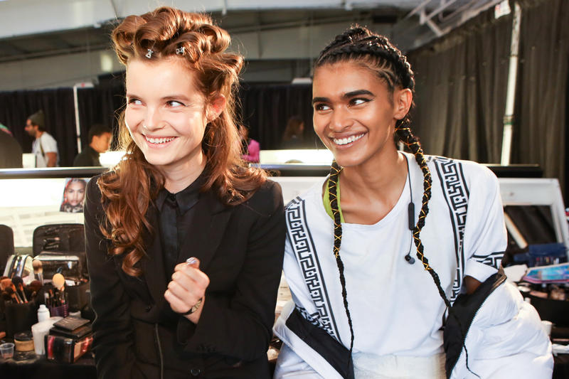 Moschino x H&M Collection Backstage Look Curls Brown Braids Yellow Black