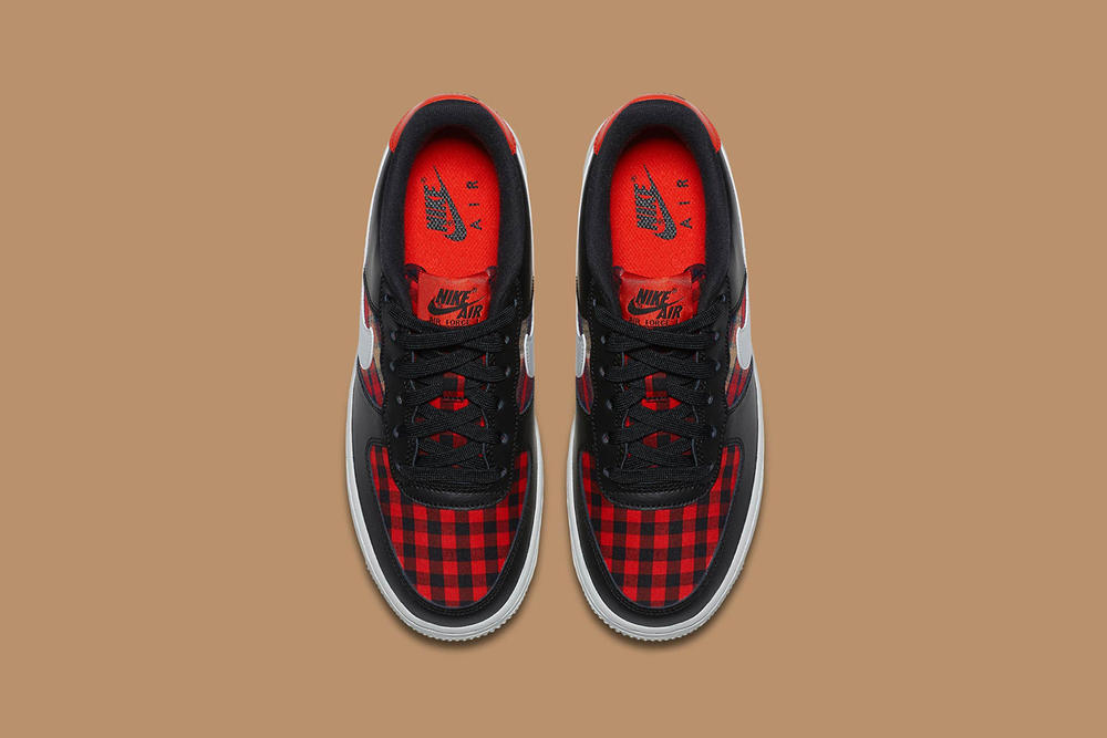 Nike Air Force 1 Black White Habanero Red Flannel