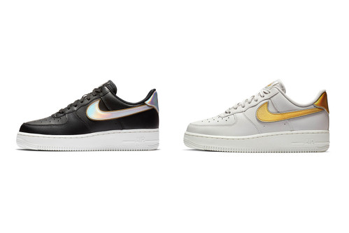 outlet store 41283 1c5a2 Nike's Newest Air Force 1 Low Design Features Metallic Swooshes