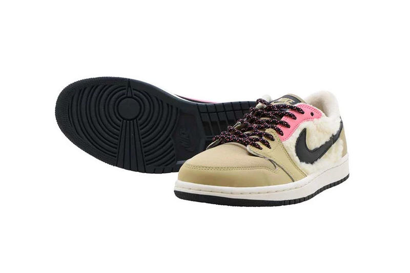 nike air jordan 1 low sherpa fleece millennial pastel pink beige