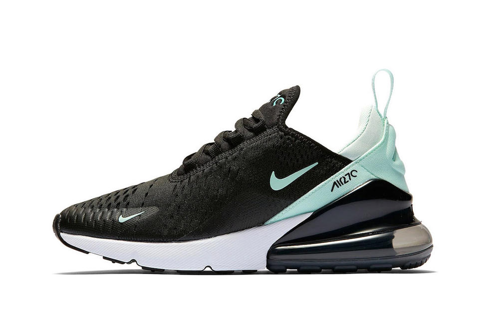 Nike Air Max 270 in Tiffany Blue and Black Swoosh Air Unit Sneaker Trainer Shoe