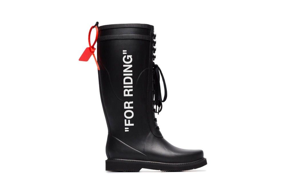 "Off-White™ ""FOR RIDING"" Black Rubber Boots Print Font Virgil Abloh Shoes"