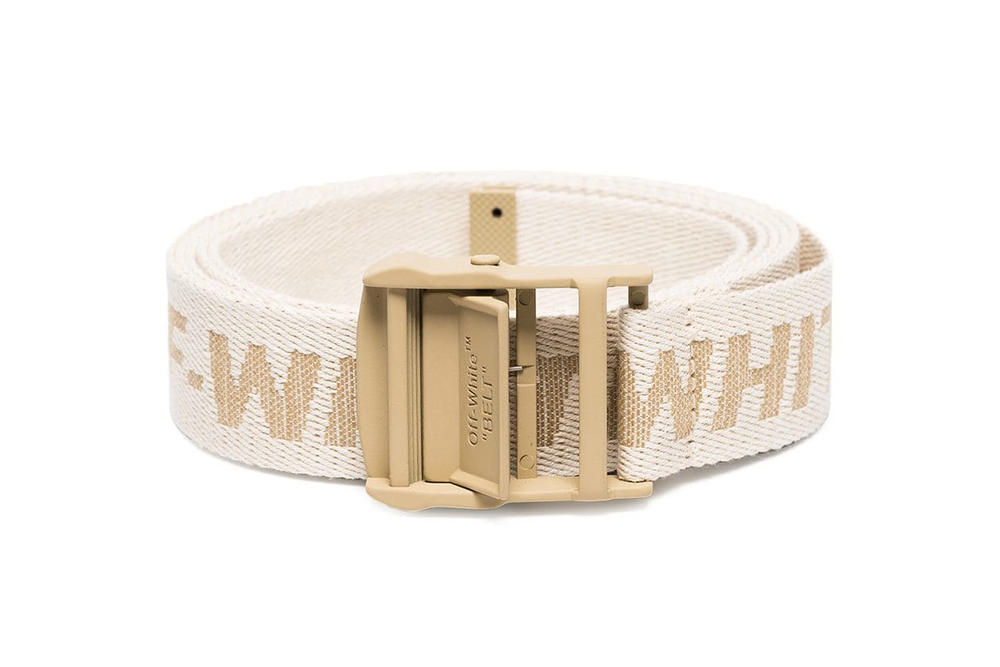 Off-White Virgil Abloh Beige Gold Neutral Industrial Belt 99736d6643ba