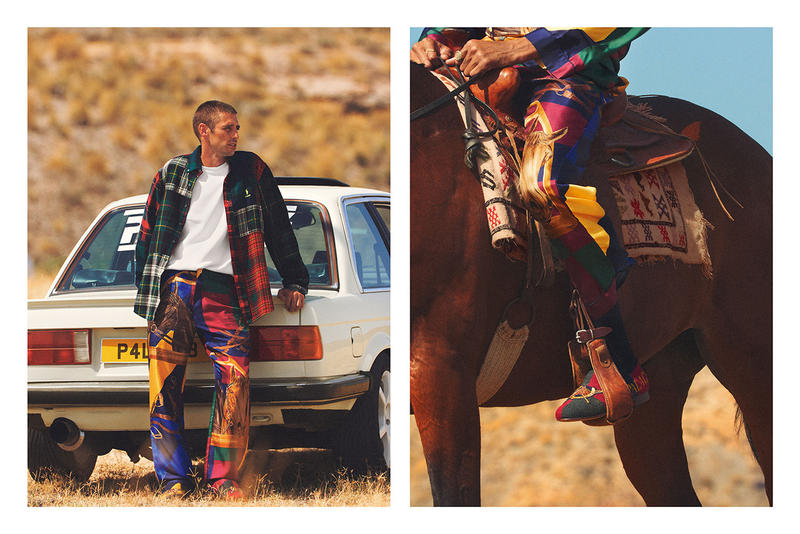 Palace Skateboards x Polo Ralph Lauren Collection Lookbook Checkered Shirt Loafers Red Green Silk Trousers Yellow Blue