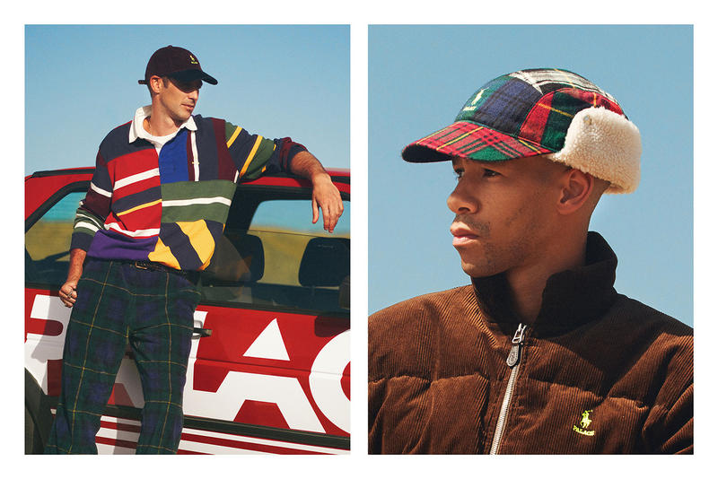 Palace Skateboards x Polo Ralph Lauren Collection Lookbook Rugby Shirt Cap Red Blue Trousers Green Puffer Coat Brown