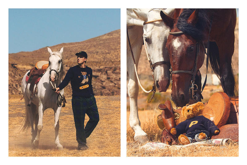 Palace Skateboards x Polo Ralph Lauren Collection Lookbook Teddy Sweater Blue Trousers Green
