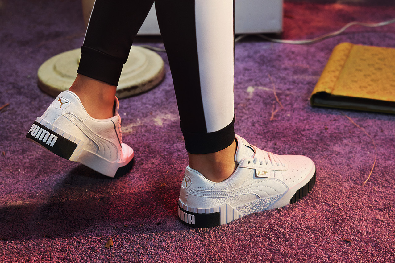 PUMA Cali Sneaker in Black \u0026 White