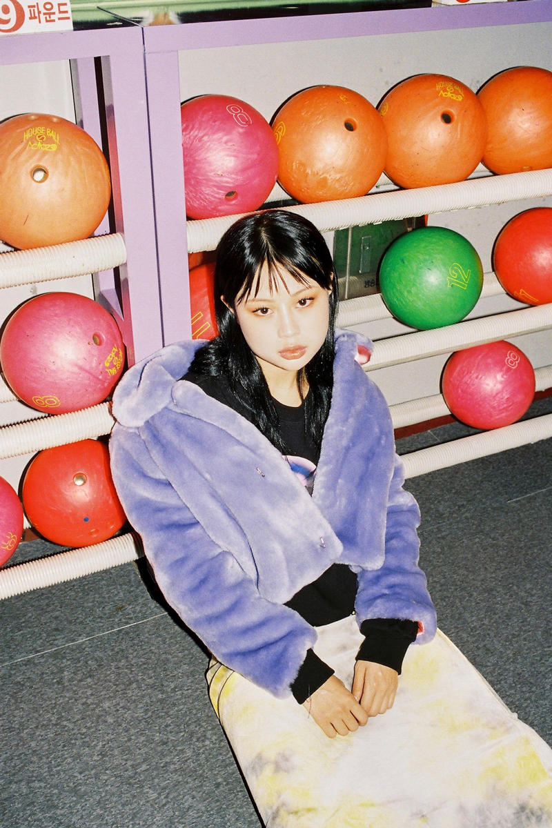 Ram Han x why not us Capsule Collection Eco Fur Jacket Baby Violet Velvet Long Skirt Yellow