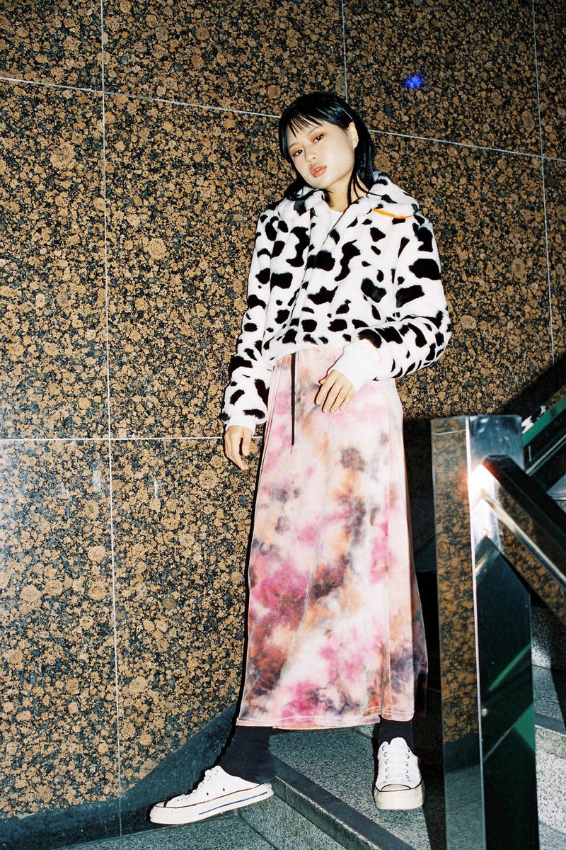 Ram Han x why not us Capsule Collection Eco Fur Jacket Dalmatian Velvet Long Skirt Pink