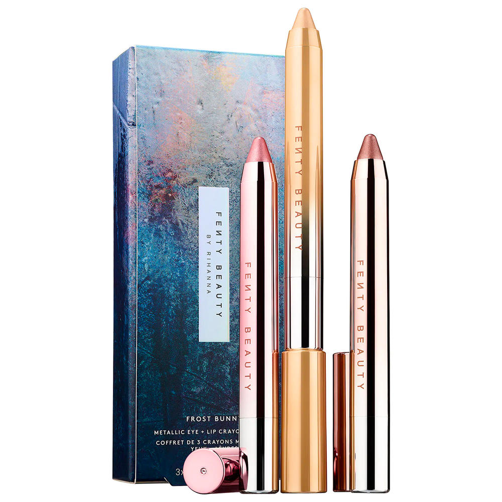 Rihanna Fenty Beauty Holiday 2018 Makeup Chillowt Metallic Eye Lip Crayon Frost Bunny Banana Frost Parka Princess Guava Mint