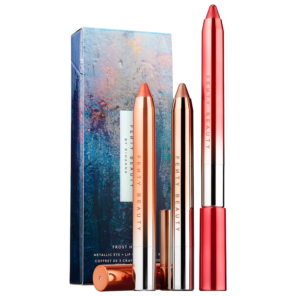 Rihanna Fenty Beauty Holiday 2018 Makeup Chillowt Metallic Eye Lip Crayon Frost Hunny Sunfrost Ice Dunes Pretty Penny