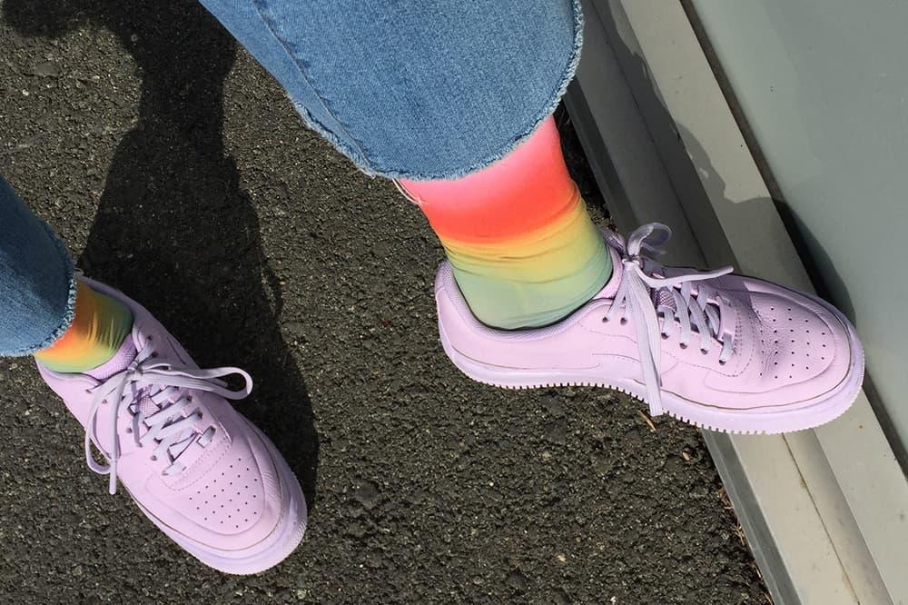 Nike Air Force 1 Sneaker Pastel Purple Lilac Jester XX Violet Mist 2018 Hysteria Happy Socks Rainbow Multi Color Mia Print Knee High