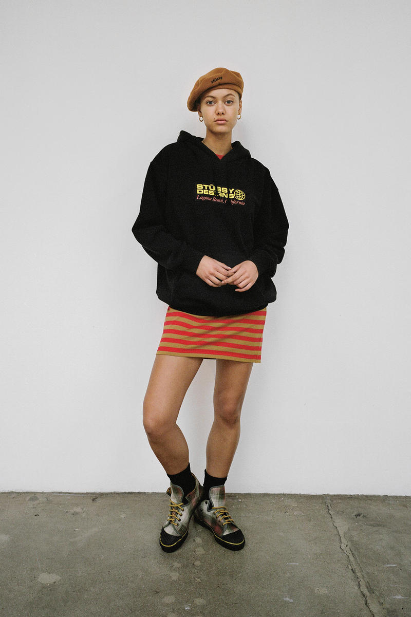 Stussy Women's Holiday 2018 Collection Lookbook Hoodie Black Skirt Red Beret Brown