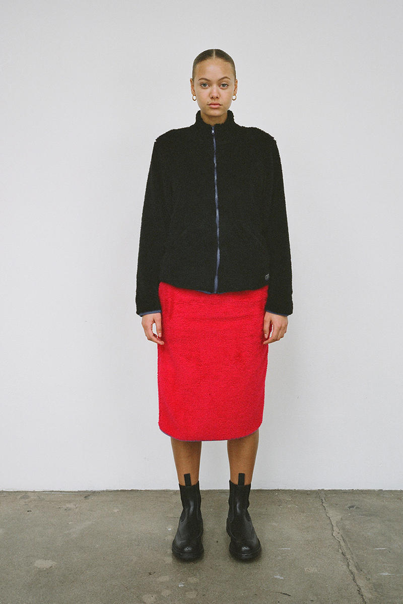 Stussy Women's Holiday 2018 Collection Lookbook Jacket Black Skirt Red