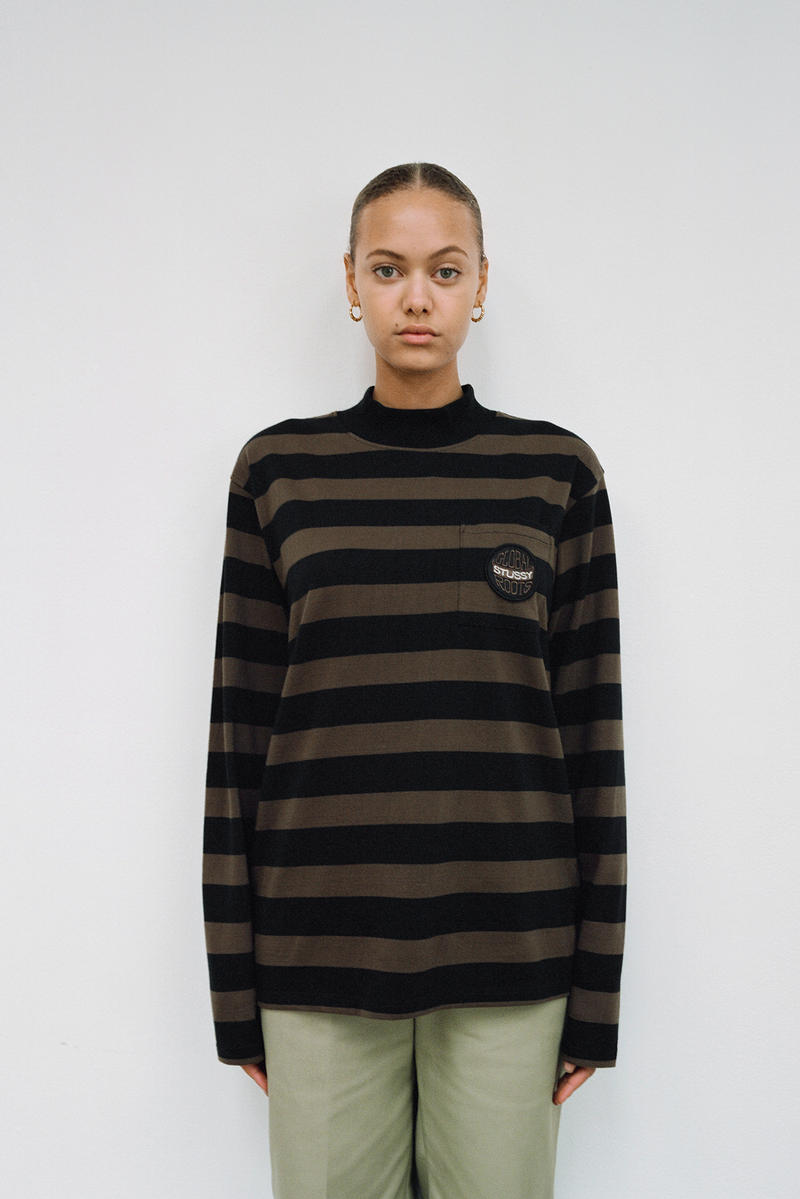 Stussy Women's Holiday 2018 Collection Lookbook Logo Striped Shirt Brown Black