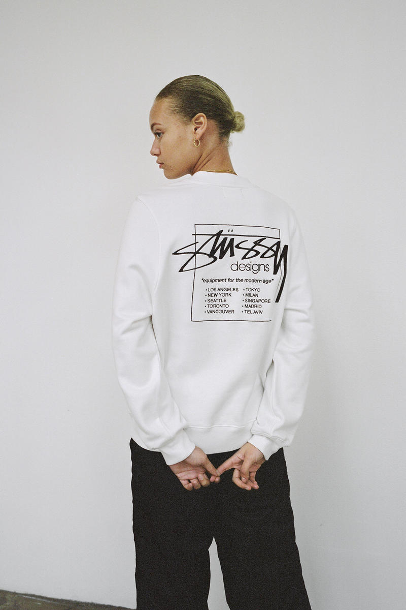 Stussy Women's Holiday 2018 Collection Lookbook Logo Sweatshirt White