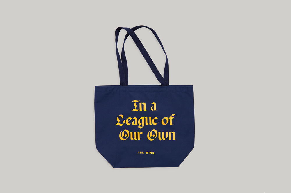 The Wing Fall 2018 In A League of Our Own Tote Blue Yellow