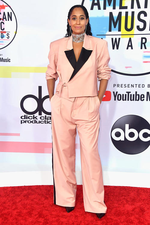 2018 American Music Awards Tracee Ellis Ross Pyer Moss Suit Pink