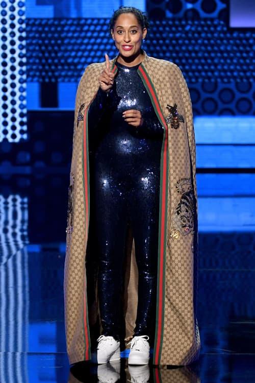2018 American Music Awards Tracee Ellis Ross Dapper Dan for Gucci Cloak Brown Nicolas Jebran Bodysuit Blue