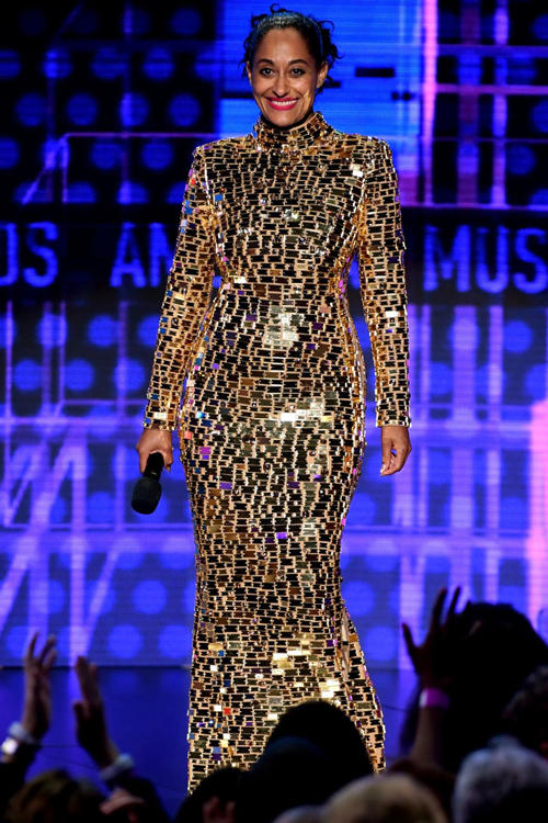 2018 American Music Awards Tracee Ellis Ross CD Greene Sequin Dress Gold