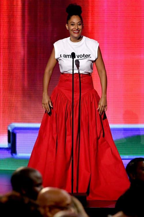 2018 American Music Awards Tracee Ellis Ross Shanel Campbell Skirt Red x Karla Shirt White