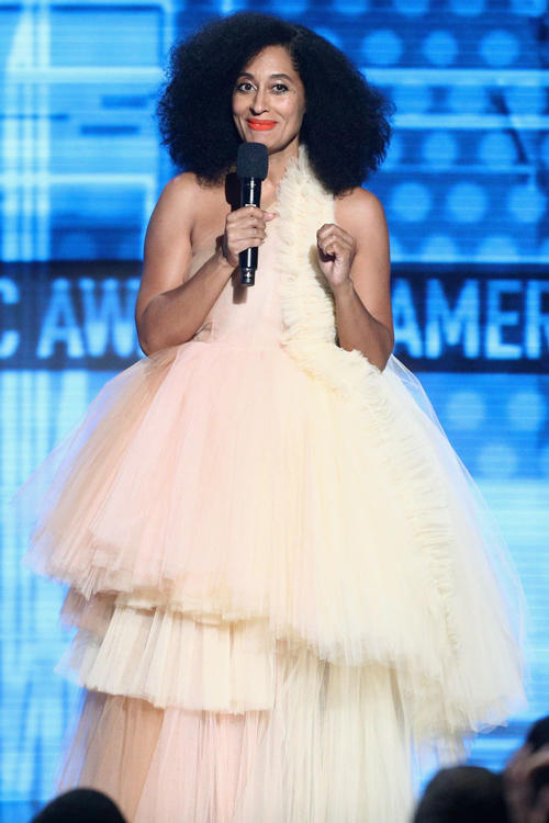 2018 American Music Awards Tracee Ellis Ross Off White Tulle Dress Yellow Pink